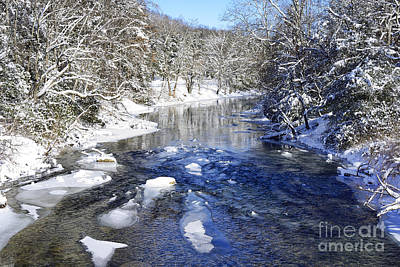 Snow On Gauley River Print by Thomas R Fletcher