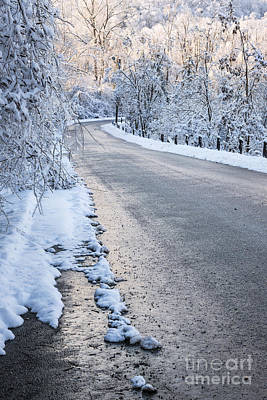 Snowstorm Photograph - Snow On Winter Road by Elena Elisseeva