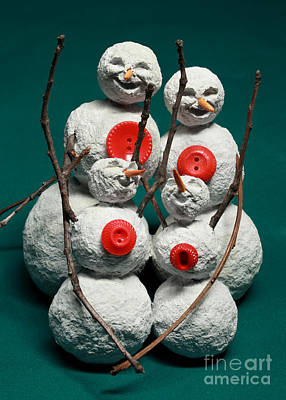Carrot Mixed Media - Snowman Family Christmas Card by Adam Long
