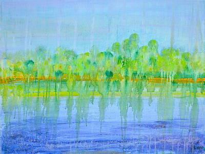 Abstract Realist Landscape Painting - Soft Rain by Regina Valluzzi
