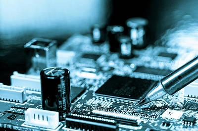 Circuit Photograph - Soldering An Circuit Board by Wladimir Bulgar