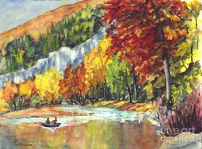 Row Boat Drawing - Solitude by Carol Wisniewski