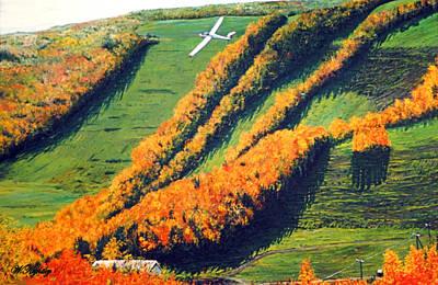 Soaring Painting - Solo Flight Over Blue Mountain by Wanda Kightley