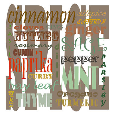 Spice Text Art Print by Erin Cadigan