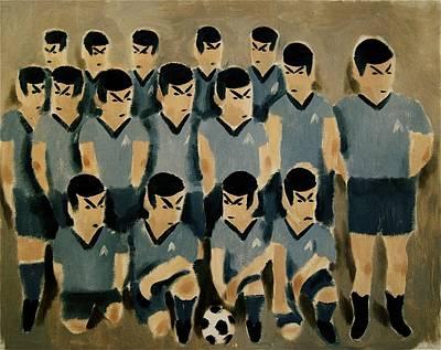 Star Trek Painting - Spock Soccer Team Art Print by Tommervik