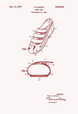 Tennis Shoe Drawing - Sport Shoe Patent 1971 by Mountain Dreams