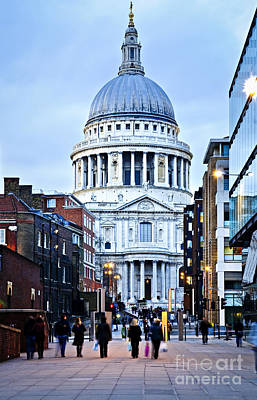 English Cathedrals Photograph - St. Paul's Cathedral London At Dusk by Elena Elisseeva