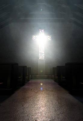 Window Signs Digital Art - Stained Glass Window Crucifix Church by Allan Swart
