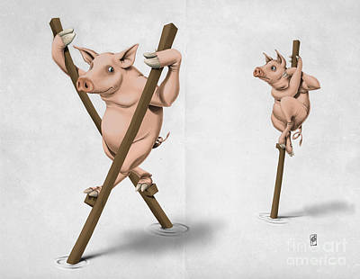 Pig Mixed Media - Stick In The Mud Wordless by Rob Snow