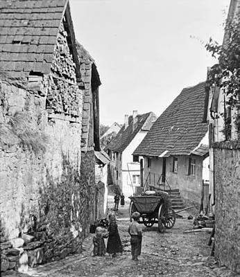 Print featuring the photograph Street Scene Heidelberg Germany 1903 by A Gurmankin