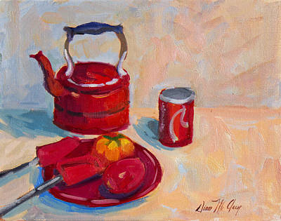 Tea Pot Painting - Study In Red by Diane McClary