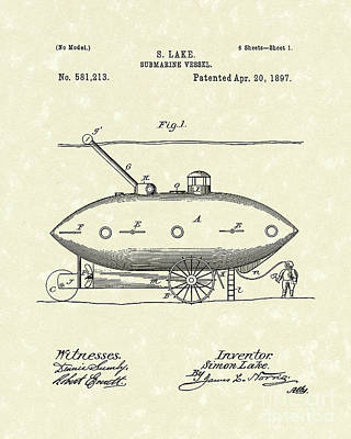 Water Vessels Drawing - Submarine 1897 Patent Art by Prior Art Design
