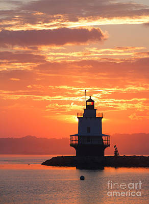 Vibrant Color Photograph - Sunrise At Spring Point Lighthouse by Diane Diederich