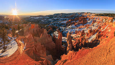 Framed Winter Snow Photograph - Sunrise In Bryce Canyon National Park by Henk Meijer Photography