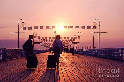 People Photograph - Sunrise Walk by Michal Bednarek
