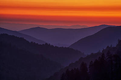 Sunset In The Smokies Print by Andrew Soundarajan