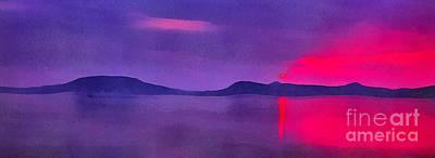 Water Filter Painting - Sunset On Balaton Lake by Odon Czintos