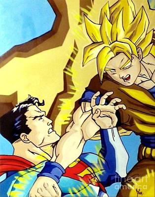 Super Man Vs Goku Print by Jin Kai