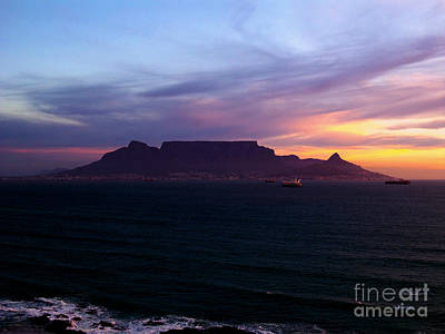 Southafrica Photograph - Table Mountain Golden Sunset by Charl Bruwer