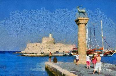 Castle Painting - Taking Pictures At The Entrance Of Mandraki Port by George Atsametakis