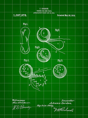 Tennis Ball Patent 1914 - Green Print by Stephen Younts