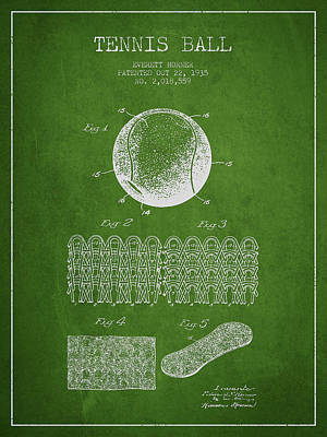 Tennis Digital Art - Tennnis Ball Patent Drawing From 1935 by Aged Pixel