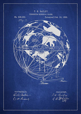 Spinning Digital Art - Terrestro Sidereal Globe Patent Drawing From 1886 by Aged Pixel