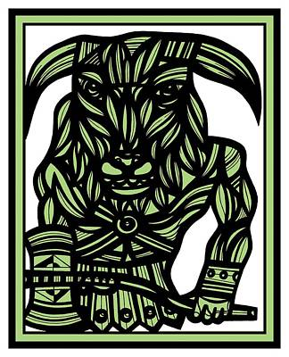 Minotaur Drawing - Kilcrease Minotaur Green Black by Eddie Alfaro