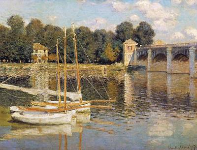 Reflecting Water Painting - The Argenteuil Bridge by Claude Monet