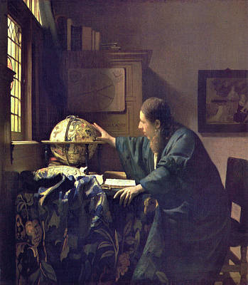 Globe Painting - The Astronomer by Johannes Vermeer