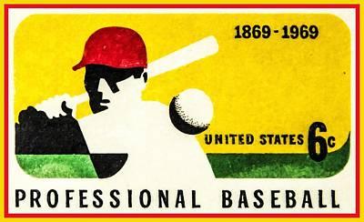 Baseball History Painting - The Baseball Centennial Stamp by Lanjee Chee