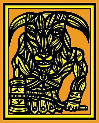 Minotaur Drawing - Velardo Minotaur Yellow Black by Eddie Alfaro