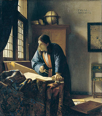 Globe Painting - The Geographer by Johannes Vermeer