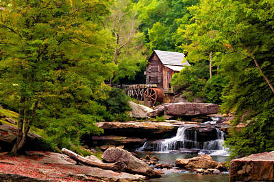 The Grist Mill Painted  Print by Steve Harrington