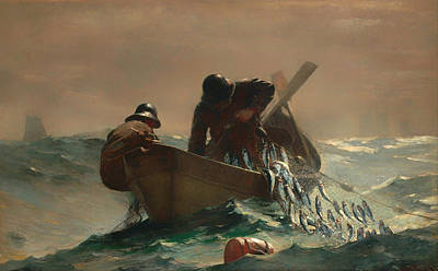 Village People Painting - The Herring Net by Winslow Homer