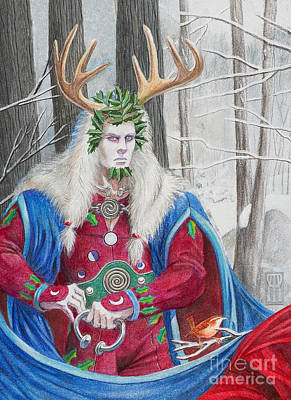 Wren Mixed Media - The Holly King by Melissa A Benson
