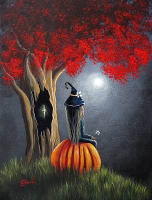 Enchantress Painting - Original Witch Art - The Midnight Hour by Shawna Erback