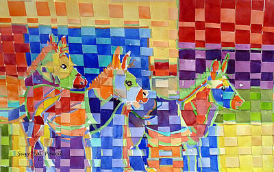 Donkey Watercolor Painting - The Trio by Suzy Pal Powell