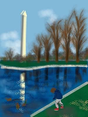 Washington Monument Painting - The Washington Monument by Lois Ivancin Tavaf