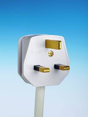 Three-pin Electrical Plug Print by Science Photo Library
