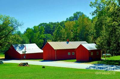 Three Red Barns Print by Luther   Fine Art