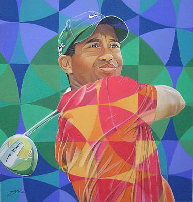 Golf Drawing - Tiger Woods by Joshua Morton