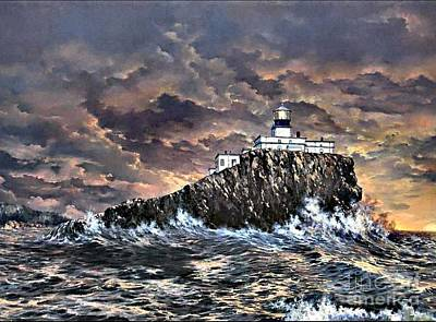 Turbulent Skies Painting - Tillamook Rock Light by Lynne Wright