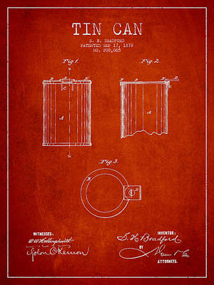 Tin Can Patent Drawing From 1878 Print by Aged Pixel