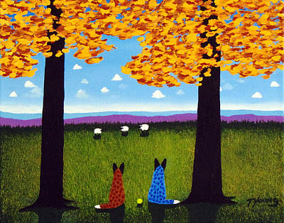 Blue Healer Painting - Together by Todd Young