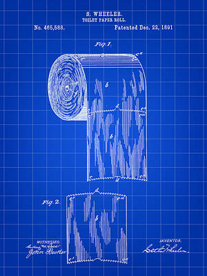 Ply Digital Art - Toilet Paper Roll Patent 1891 - Blue by Stephen Younts
