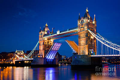 Icon Photograph - Tower Bridge In London Uk At Night by Michal Bednarek