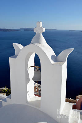 Traditional Belfry In Santorini Island Print by George Atsametakis