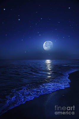 Sea Moon Full Moon Photograph - Tranquil Ocean At Night Against Starry by Evgeny Kuklev