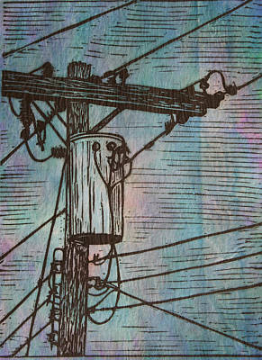 Powerlines Drawing - Transformer by William Cauthern
